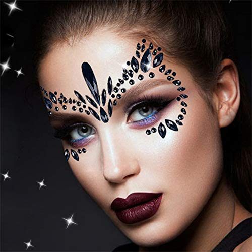 Rhinestone Face Gems Jewels, Festival Face Jewels Tattoo Stickers, Rave Crystals Face Gems Stick on, Body Gem Stones Bindi Temporary Face Tattoos for Festival Rave,4-Pack, Black
