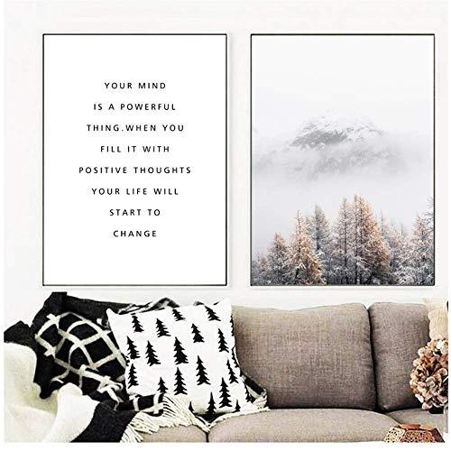 XingChen Quadro su Tela 2x60x80cm Senza Cornice Nebbia Invernale Neve Foresta di Montagna Lago Pino Wall Art Poster Immagini da Parete per Soggiorno Decor Stampe