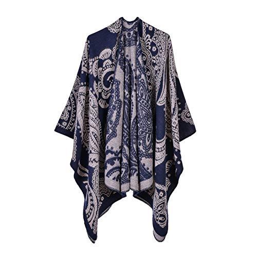 YUFSHU wintersjaal voor dames met grote, warme sjaal en warme rug en omhang, gevoerd met poncho mantel 19040-1