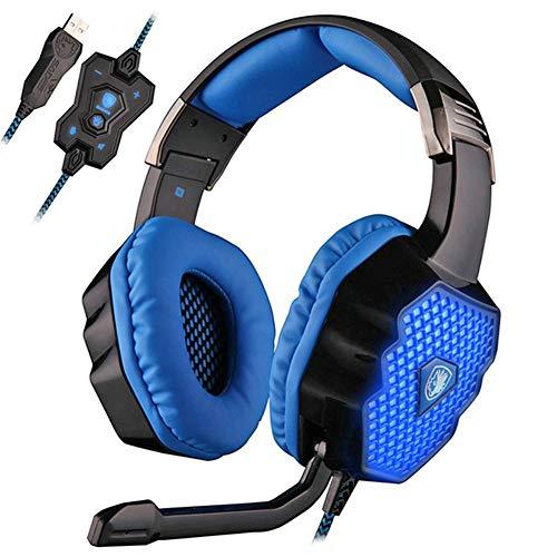EPMR Hoofdtelefoon, hoofdtelefoon met ademlichten, USB-aansluiting 7.1 kanaal, met geluidskaart, computer gaming headset met microfoon, geschikt voor gaming en muziek kantoor, enz., size, Zwart