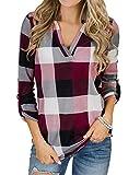YOINS Camicia Donna Elegante Camicetta Donna Manica Lunga Bluse Camicie a Quadri Blusa Scollo V Casuale Scacchi Rosa L