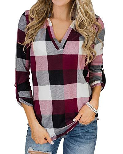 YOINS Blusa Mujer Manga Larga Camiseta Cuello V Camisa Elegante Túnica Casual SueltoTops Otoño Invierno Rosa M