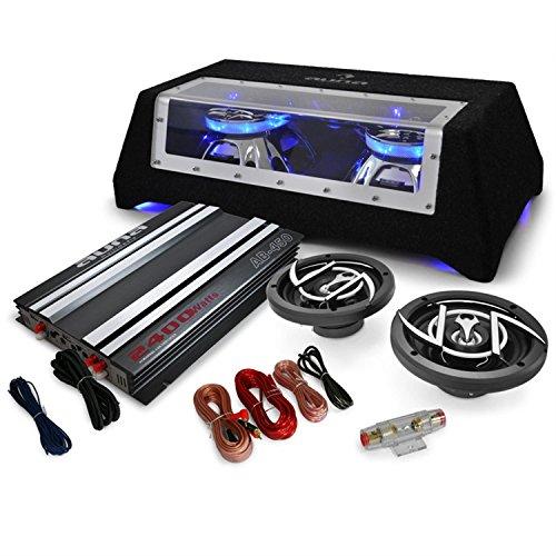 auna 2.1 Platin Line 320 - Car HiFi Set, 1 x Verstärker, 2400 Watt, 2 x 6 Lautsprecher, 1 x Twin-Subwoofer, 1 x Kabelset, eingebauter Lichteffekt, widerstandsfähige Filzbeschichtung, schwarz