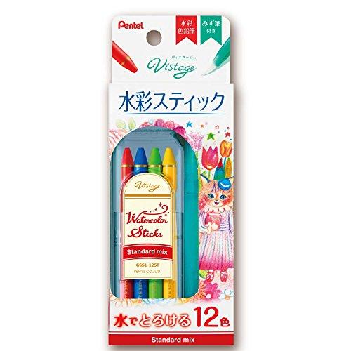 ぺんてる 全芯色鉛筆 水彩スティック 12色 スタンダードミックス GSS1-12ST
