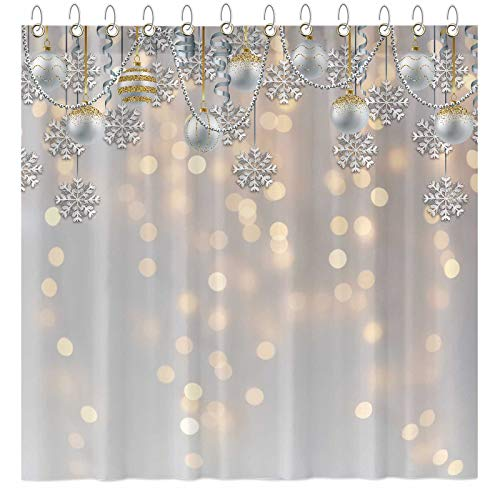 "Funnytree White Glitter Bokeh Shower Curtain Set with 12 Hooks Gold Spot Merry Xmas Abstract Sparkle Bathroom Bathtubs Decor Easy Care Waterproof Washable Durable Polyester Fabric 72""x72"""