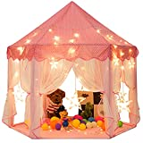 Sunnyglade 55'' x 53'' Princess Tent with 8.2 Feet Big and Large Star Lights Girls Large Playhouse Kids Castle Play Tent for Children Indoor and Outdoor Games Children's Day Gift