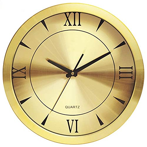 WSDDNXM Reloj de Pared Reloj de Pared de Metal Reloj de Pared silencioso Redondo decoración de la Sala de Estar Reloj de Pared Reloj Dorado (Color: 14 Pulgadas Plateado)
