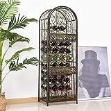 Vacuum Parts 45 Bottle Large Metal Floor Freestanding Locking Wine Rack Jail Renaissance Cage