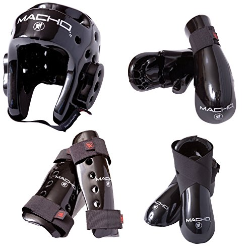 Macho Dyna 7 piece sparring gear set with shin guards black child large