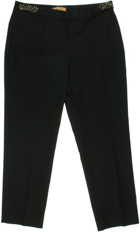 Ellen Tracy Women's Zanzibar gold Studded Pants, Black, 2