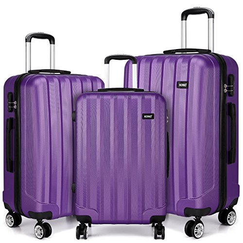 "Kono 20"" 24"" 28"" Luggage Sets Super Lightweight PC Suitcase 4 Wheels Spinner Luggage Vertical Strip Travel Trolley Case in Purple (3-Piece Set(20'/24'/28'))"