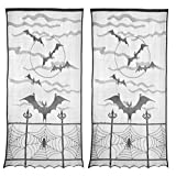 ATPWONZ 2pcs Halloween Window Curtain, Extra Large 40' X 84' Black Lace Halloween Spider Web Bats Window Curtain Door Curtain Decor, Halloween Indoor Decoration