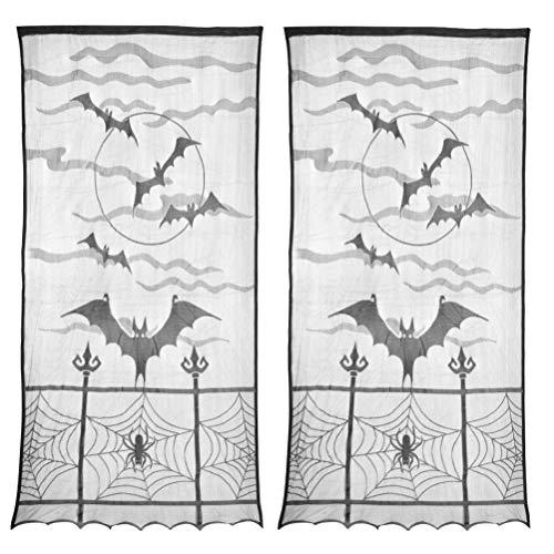 "ATPWONZ 2pcs Halloween Window Curtain, Extra Large 40"" X 84"" Black Lace Halloween Spider Web Bats Window Curtain Door Curtain Decor, Halloween Indoor Decoration"