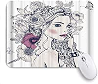 マウスパッド 個性的 おしゃれ 柔軟 かわいい ゴム製裏面 ゲーミングマウスパッド PC ノートパソコン オフィス用 デスクマット 滑り止め 耐久性が良い おもしろいパターン (北欧スタイルの手塗りの美しい少女蝶)