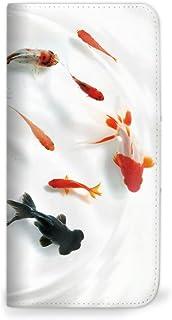mitas Galaxy NOTE 5 SM-N9200 ケース 手帳型 ベルトなし 夏 金魚 水 魚 A (262) NB-0266-A/SM-N9200