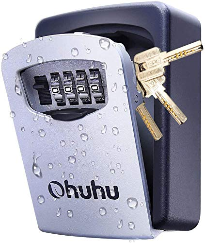 Schlüsseltresor mit 4-Stelligem Zahlencode, Ohuhu Schlüsselsafe Schlüsselkasten, an der Wand befestigter Schlüsselsafe für Haus Garagen Schule Schlüsselbox
