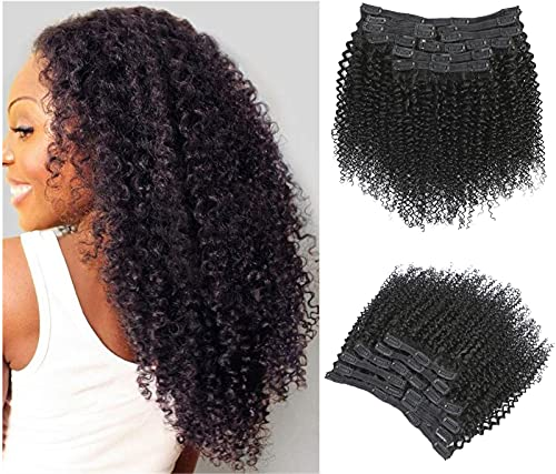Jiarosi Kinky Curly Clip In Hair Extensions 16 Inch 3C 4A Afro Curly Hair Clip Ins with 24 Clips 8A Brazilian Remy Hair Lace Weft Soft Clip in Hair Extensions for Woman Natural Black Color 10Pcs