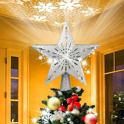 TSAI Weihnachtsbaumspitze Stern, Womdee Weihnachtsbaum Spitze,Christbaumspitze LED Drehen Schneeflocke,3D Hohl Star Beamer Lichter für Feiertags-Dekorationen