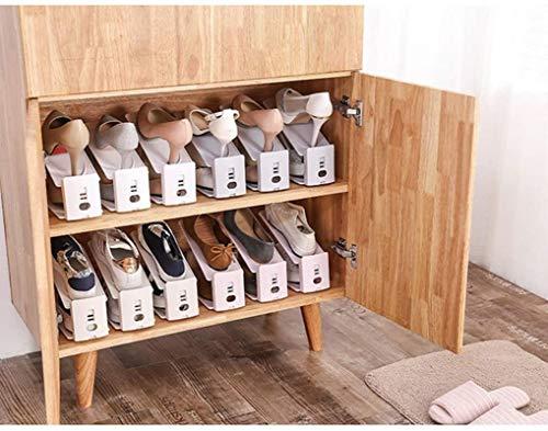 Ranuras de zapato ajustables Organizador Bastidore Estante de zapatos El estante de zapatos creativos ahorra espacio, almacenamiento de doble pila ajustable, juego de zapatos de 5 piezas organizador d