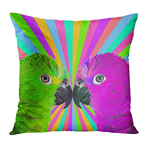 Yaxinduobao Bed Pillows Loft Pillow 20 x 20 inches Minimal Contemporary Collage Art Colorful Parrots Polyester Soft Square for Couch Sofa Bedroom