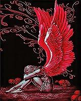 大人と子供のための数字で描く堕落した天使の羽40x50cmDIY油絵キット、キャンバスに絵筆とアクリル顔料、家の壁の装飾のためのアートクラフト