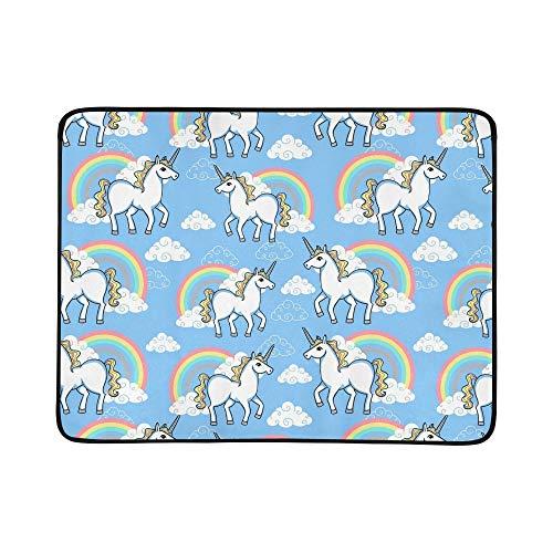JEOLVP Cartoon Doodle Unicorn Rainbow Clouds Tapis De Couverture Portable Et Pliable 60x78 Pouce Pratique Tapis pour Camping Pique-Nique Plage Intérieur en Plein Air Voyage