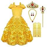 Hamanasu Costume de Princesse Belle Robe Déguisement pour Filles avec Accessoires (Jaune01,3Ans/100)