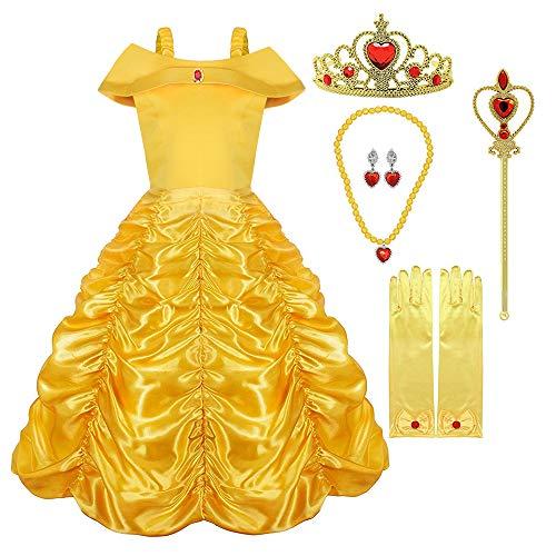 Hamanasu Costume de Princesse Belle Robe Déguisement pour Filles avec Accessoires (Jaune01,5Ans/120)