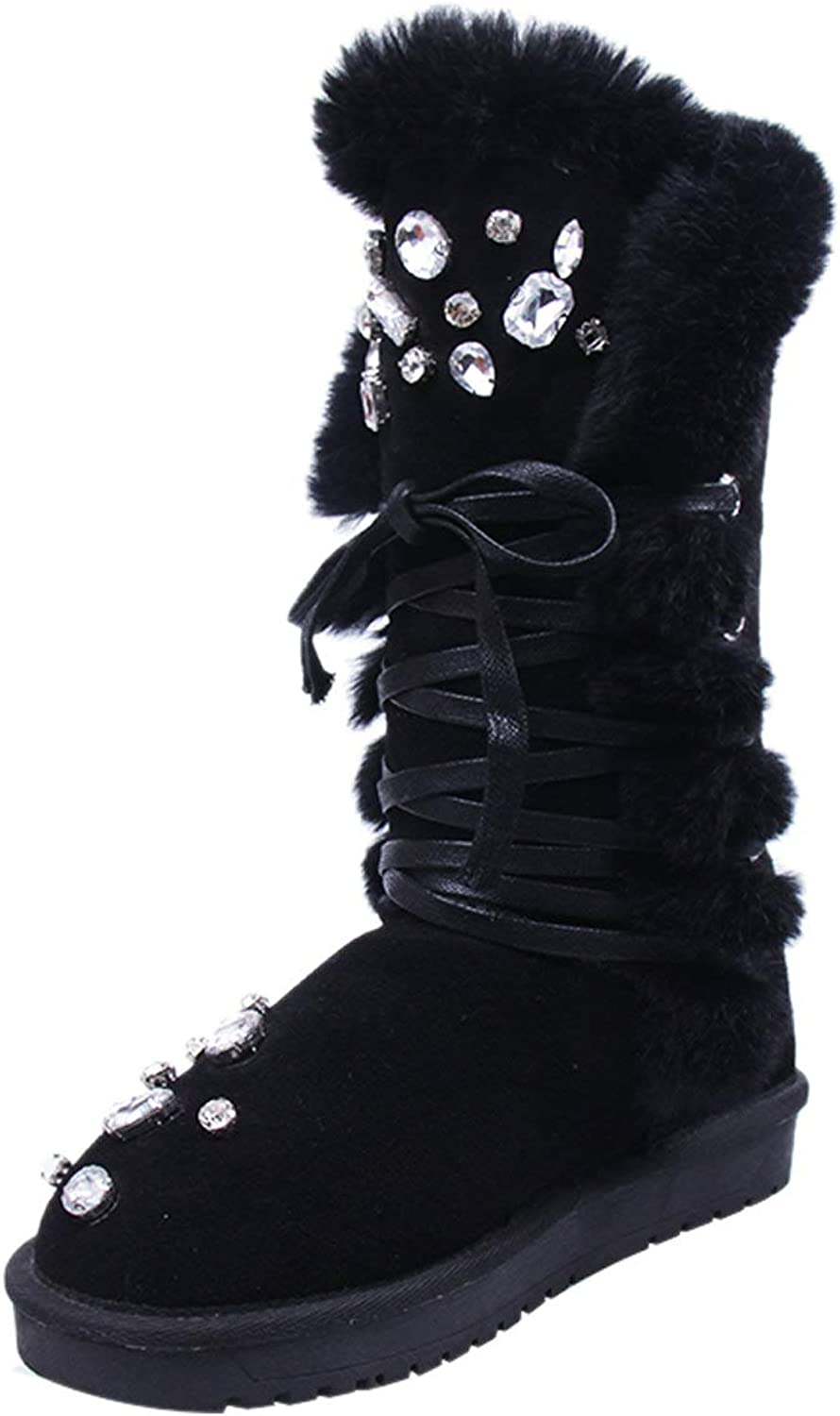 MARHEE Women Winter shoes Plush Warm Snow Boots Artificial Crystal Lace Up Warm Boots