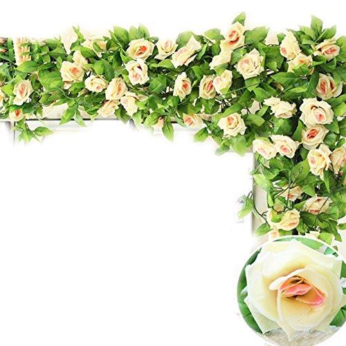 Natural Home 245cm Efeu Girlande Efeubusch Efeugirlande Efeuranke künstliche Kunstpflanze hängend Blätter (Champagne, 2er Pack)