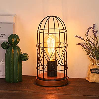 HAITRAL Industrial Table Lamp, E26 Edison Vintage Desk Lamp with Metal Cage, Steampunk Antique Nightstand Lamp for Living Bedroom Room?Bulb Not Included ?