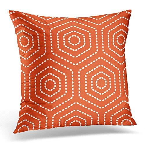Ksale Colorido jardín Naranja patrón geométrico Patio Funda de Almohada Decorativa decoración del hogar Funda de Almohada Cuadrada de 18 x 18 Pulgadas