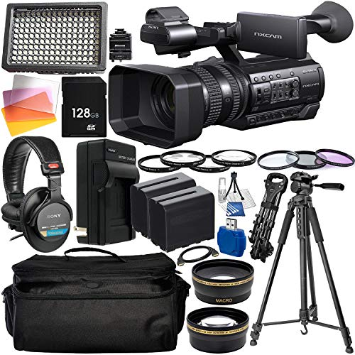 """Sony HXR-NX100 Full HD NXCAM Camcorder with Essential Accessory Bundle – Includes: Sony MDR-7506 Headphones + 128GB SD Memory Card + 3PC Filter Set + 160 LED Video Light + 75"""" Tripod + More -  Panasonic, SNYHXRNX100EAB1"""