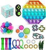 Fidget Toy Packs, Set De Juguetes Sensoriales Fidget Baratos con Simple Dimple Pop Bubble Infinite Cube Stress Ball y Anti Stress Relief Toy Stress Ball (22 Piezas G)