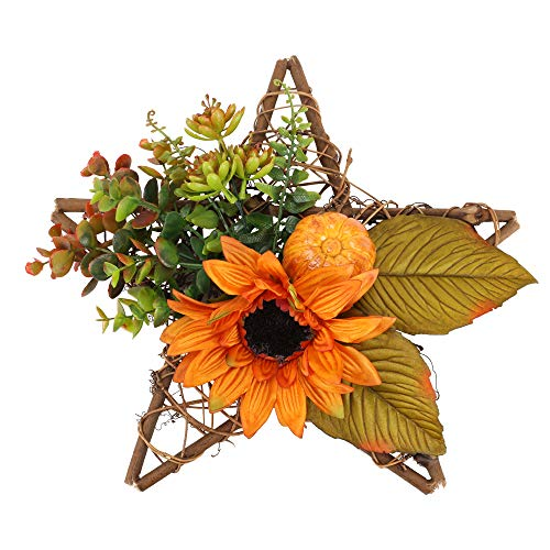 HUAESIN Künstliche Kranz Deko Herbst Ahornkranz Türkranz Sonnenblumen mit Eukalyptus Kunstblumen Kranz Kürbis Deko für Hochzeit Party Garten Feier Kamin Halloween Orange 30CM