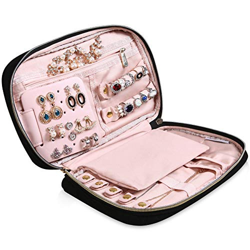 """MoMA Travel Jewelry Organizer - 9.8""""L x 6.1""""W x 1.9""""H(Medium Size) Jewelry Case - Jewelry Storage Box for Necklace, Earrings, Rings, Bracelets - Women Quilted Jewelry Box Organizer - Girl Portable Jewelry Case"""