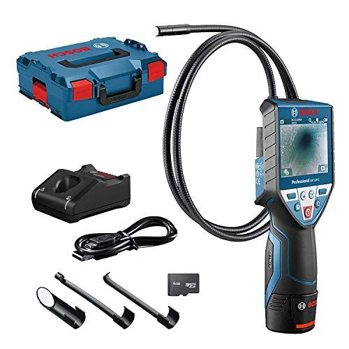 Bosch Professional 12V System Telecamera di ispezione GIC 120 C (1 batteria 12V, lunghezza del cavo: 120 cm, schermo: 3,5'', 4x batterie AA, in L-BOXX)