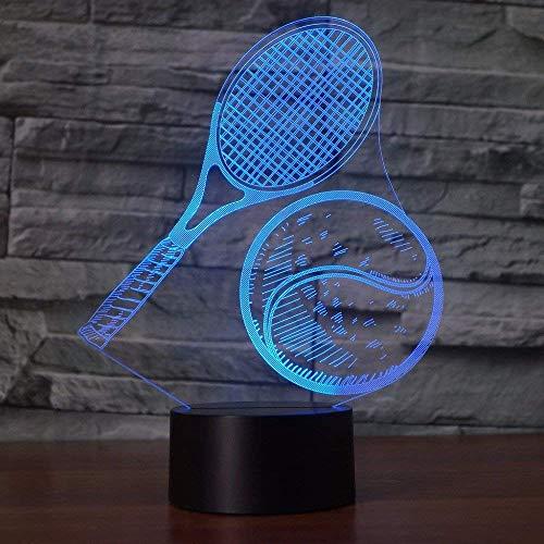 3D Lampada da Tavolo,KINGCOO 3D Optical Illusion Visiva illuminazione luce Notturna 7Cambiamento Colore Pulsante Touch USB Atmosfera Lampada da Notte LED (Racchetta da Tennis)