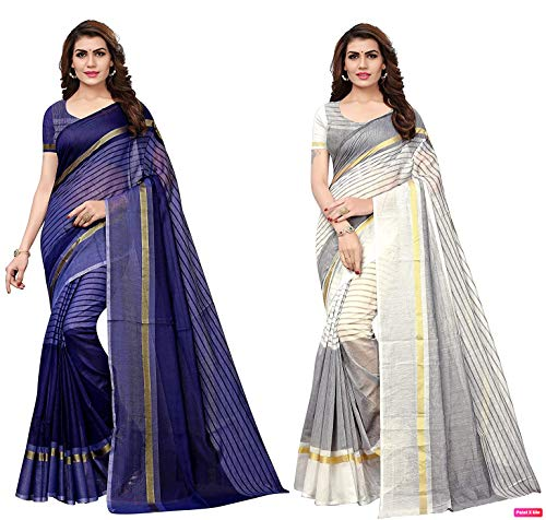 ANNI DESIGNER Women's Cotton Saree With blouse piece (Pack of 2)