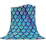 Gogobebe Flannel Fleece Throw Blanket for Sofa Couch Bed Mermaid Fish Scale Soft Cozy Lightweight Blanket for Adults/Kids 39x49inch