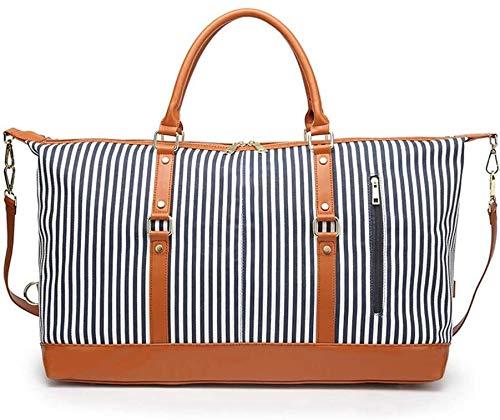 Fashion backpack Multifunctional Travel Fashion Travel Duffels Shoulder Bag Unisex Large Capacity Canvas Plus Leather Portable Weekend Overnight Travel Bag Stripe Sports Luggage Handbag Luggage Handba