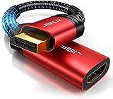 JSAUX Adattatore DisplayPort a HDMI (4K@60Hz, UHD), Adattatore DP Maschio a HDMI Femmina Convertitore DisplayPort a HDMI 2.0 Compatibile con HP, DELL, HDTV, Monitor, Schede Grafiche, Proiettori -Rosso