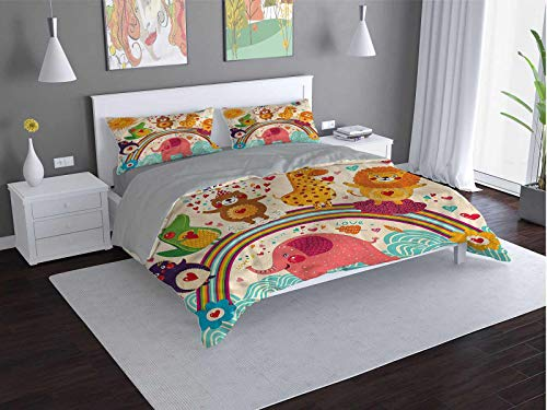 Toopeek Cartoon hotel bed linen Happy-Animals-Bear-Lion polyester - soft and breathable (Twin)