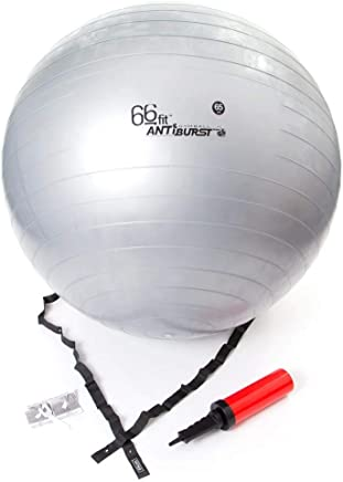 66fit Gym Exercise Yoga Stability Swiss Ball with Pump - Silver - 65cm