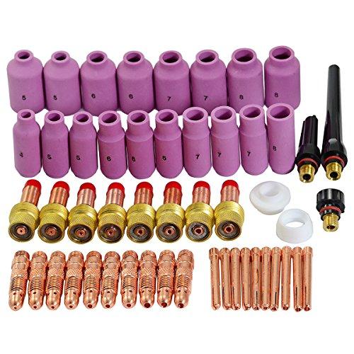 TIG Back Cap boquillas de cerámica Cup Gasket Kit Fit DB SR WP 17 18 26 Serie 51pcs