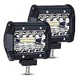 URAQT Focos LED Tractor, 60W Faro Trabajo Led 4 Pulgadas, 2pcs Superbrillantes LED Faros de Trabajo,...