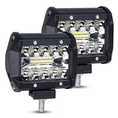 URAQT 4 Pouces 60W Projecteur Phare de Travail LED, Projecteur Flood Combo Feu de Brouillard Lampe Conduite 4 Pouces LED Phare Longue Portée de Lumière Conducteur de Véhicule Hors Route Bateau Cabine