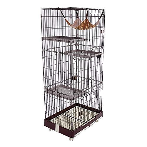 DZLA Jaula para Gatos Gato casa con 4 Niveles Jaula para Mascotas Villa para Gato Jaula para Animales pequeños Gatitos con 4 Ruedas (L-99×63×195cm, Marrón)