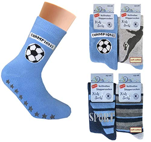 4 Paar Jungen Thermo Socken mit ABS | Kinder Vollfrottee Strümpfe 27-30 / mehrf
