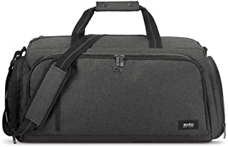 حقيبة السفر المصنوعة من القماش الخشن مع مقصورة لجهاز الكمبيوتر المحمول، رمادية اللون، من سولو نيويورك